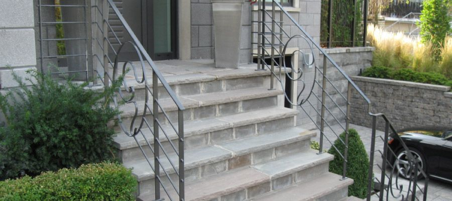 Staircase with a steel railing